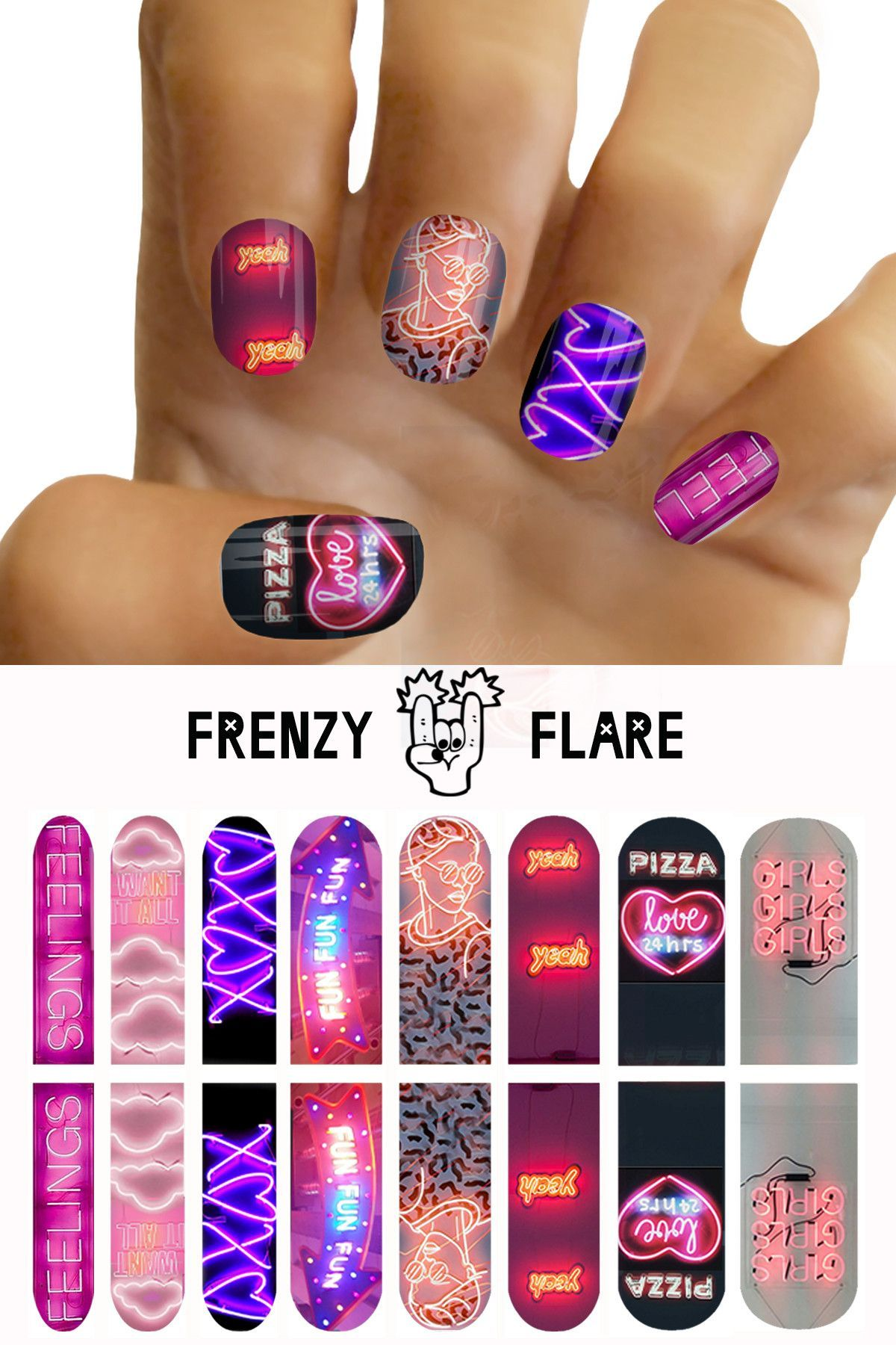 Neon Sign Nail Decals. Nail Art | Nail decals, Neon and Style nails