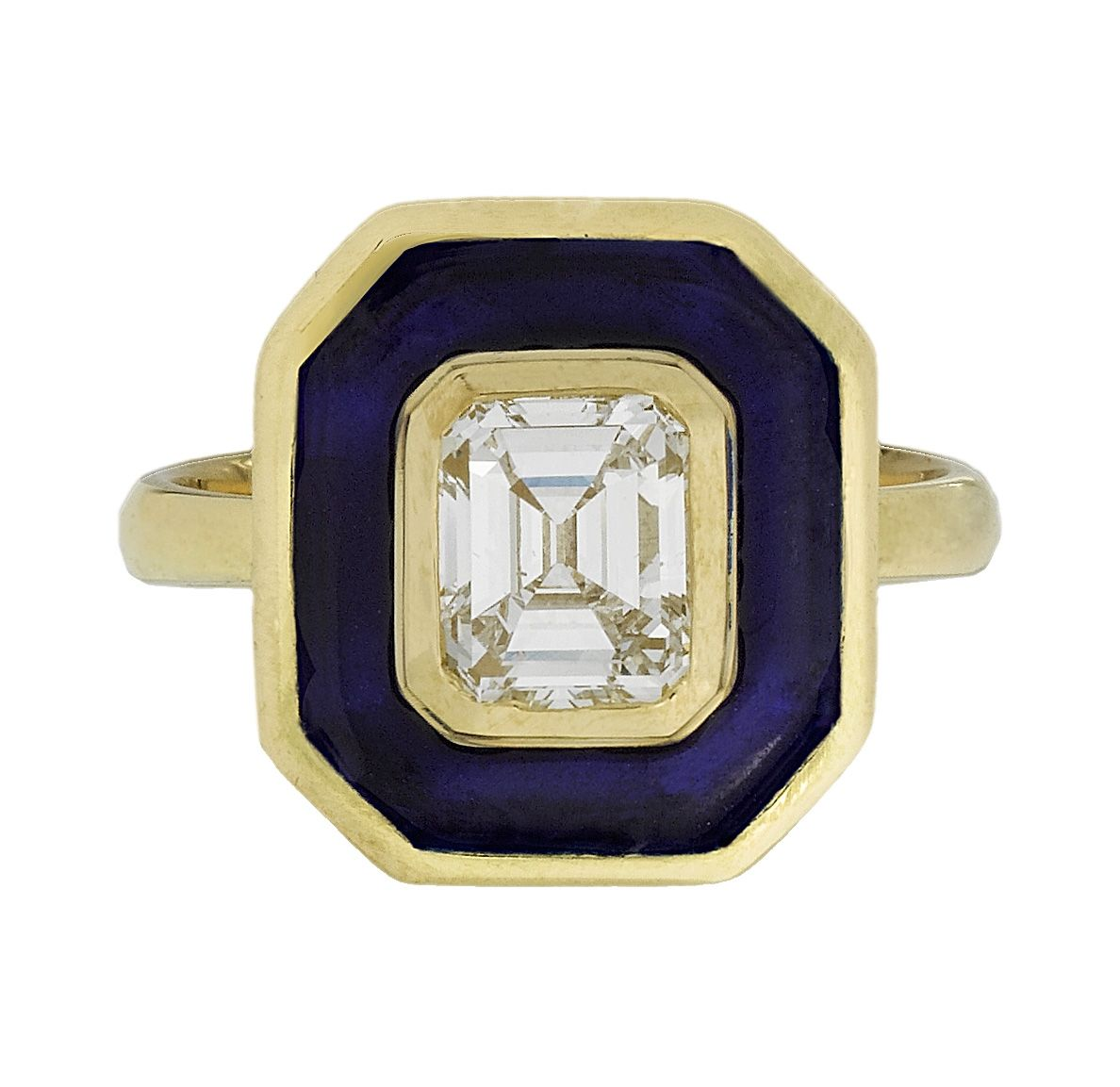Aurora Ring goes OCTAGONAL! We can custom-make various shapes for you.. Diamond + Aegean Enamel in Yellow Gold. #enagementring #diamond #bride #bridetobe http://www.aurora.tarrarosenbaum.com