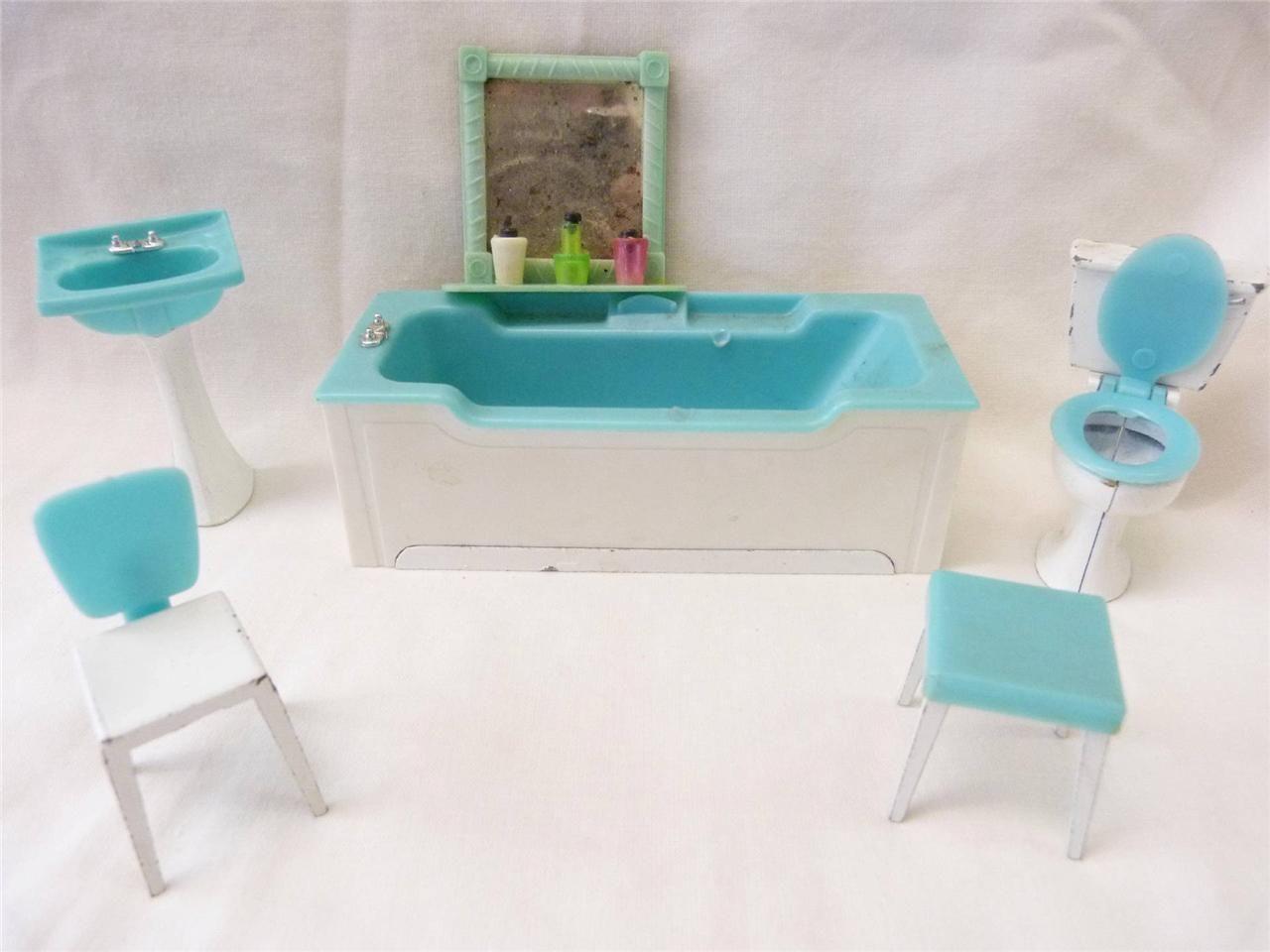 Wonderful Traing Spot On Metal U0026 Plastic 1950s Retro Dolls House Bathroom Furniture |  EBay