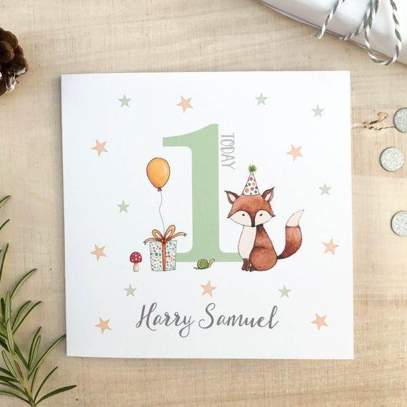 Personalised Childrens Birthday Card Fox Birthday Card Etsy Cards Card Patterns Kids Birthday Cards