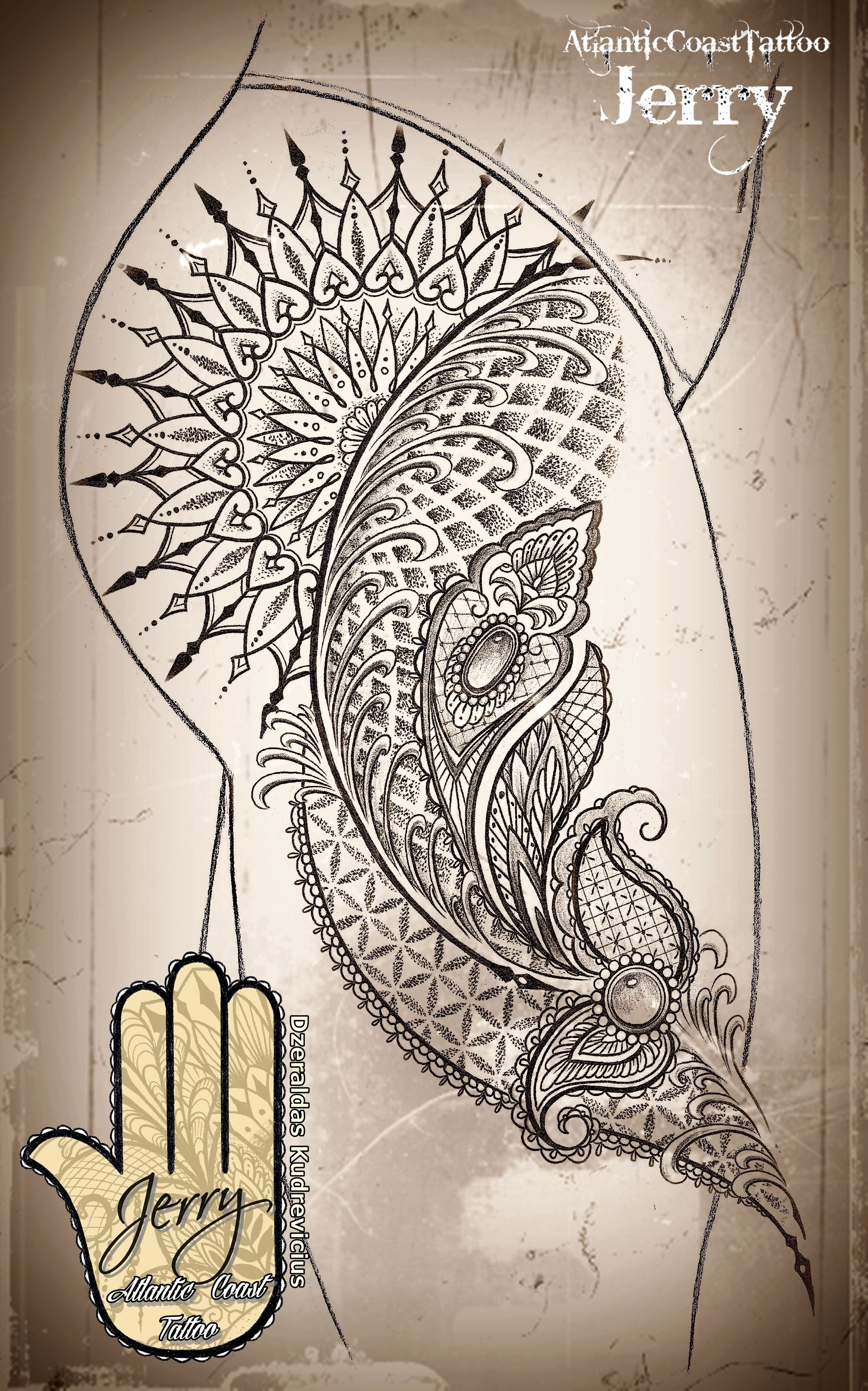 Mandala Thigh Tattoo Idea Design With Beautiful Lace And Mendi Patterns,  Dotwork. By Dzeraldas