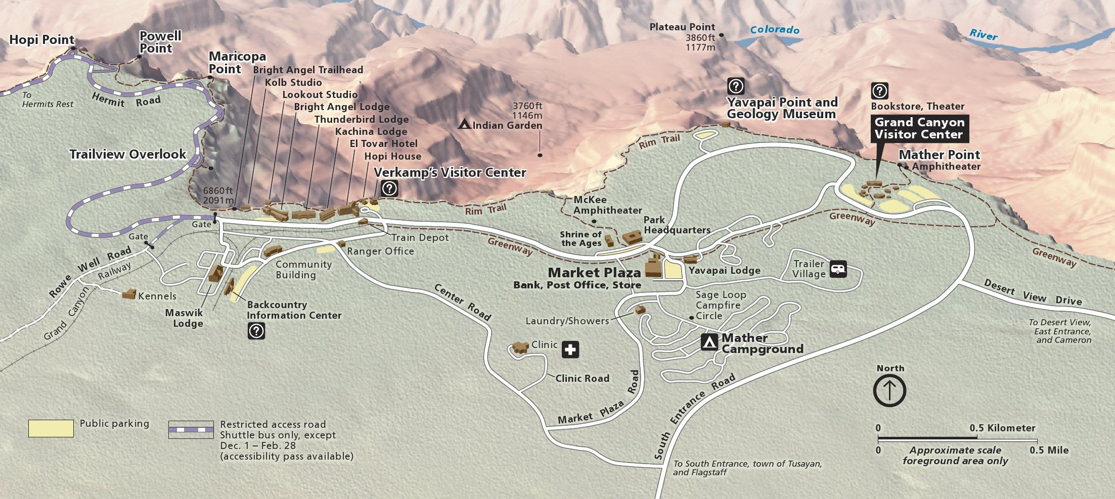 Close Up Map Of Grand Canyon Village On The South Rim In Grand - Grand canyon campground map