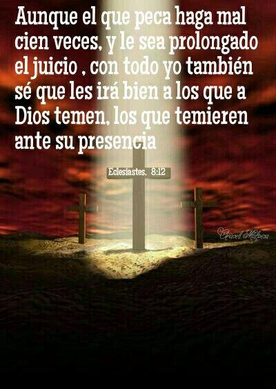 Eclesiastés, 8:12 - Aunque el que peca haga mal cien veces, y le sea prolongado el juicio , con todo yo también sé que les irá bien a los que a Dios temen, los que temieren ante su presencia
