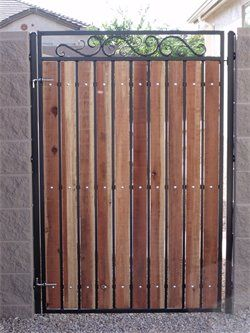 Image Detail For Privacy Path Gate Wrought Iron With Wood Slats Thompson Metal Works