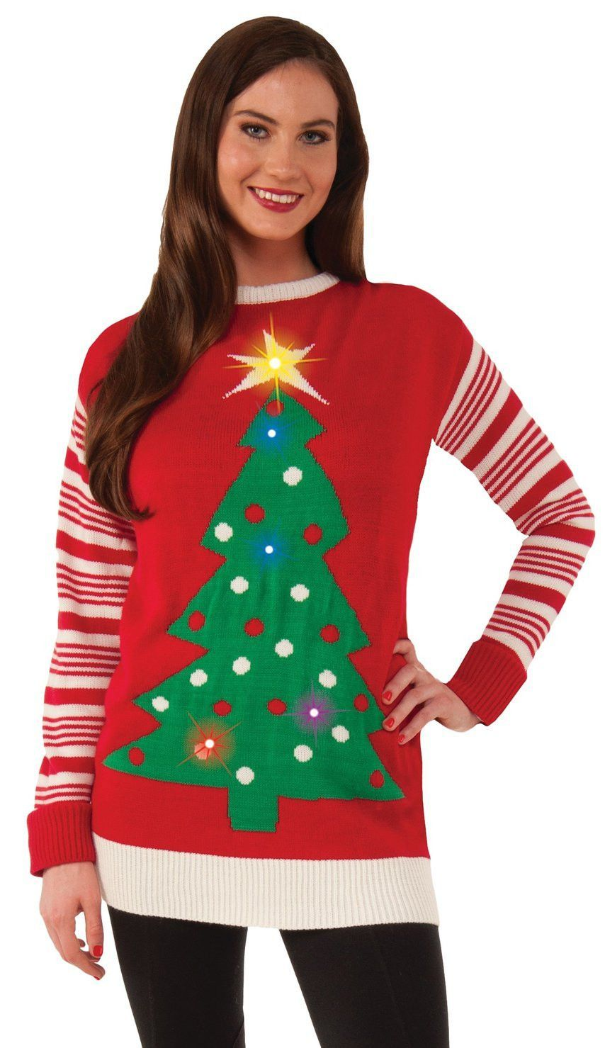 Christmas Tree Light Up Adult Ugly Sweater 3 Way Switch Options Festive Red Features A Design And Multi Colored Lights Hidden With For Blinking