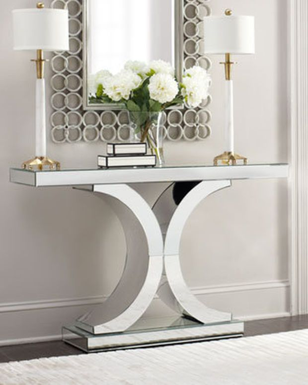 Splendora Mirrored Console Table Mirror White Styling