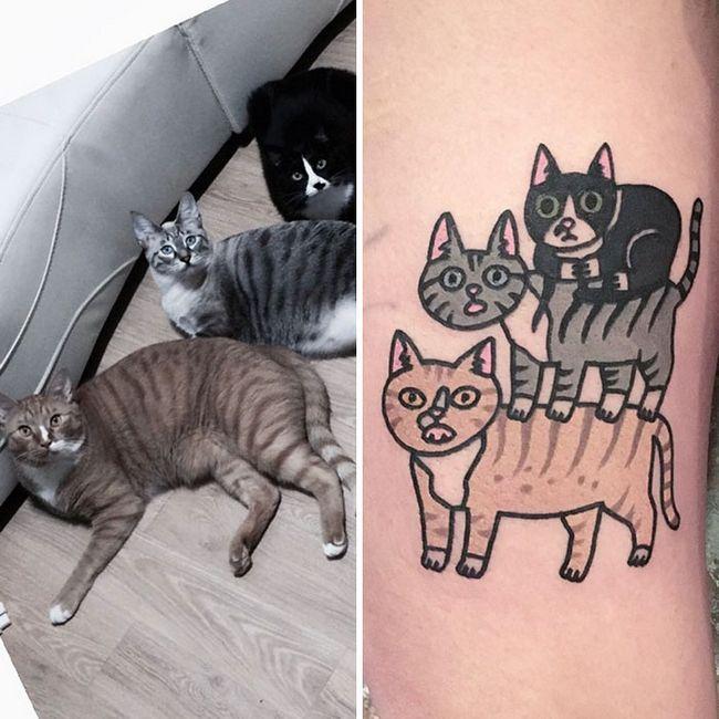 Tatuadora eterniza animais de estimação em lindos desenhos no estilo cartoon