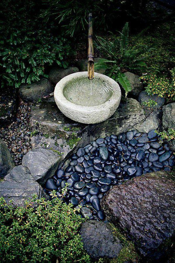 Bambus Brunnen Und Kieselstien Garten Dekoration