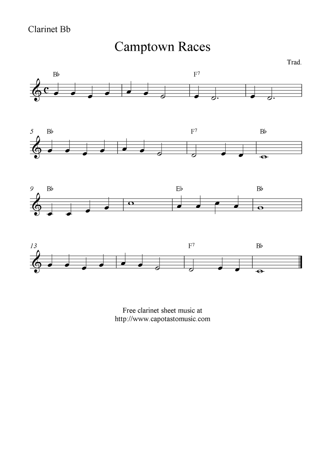 Music Scores Camptown Races, free easy sheet