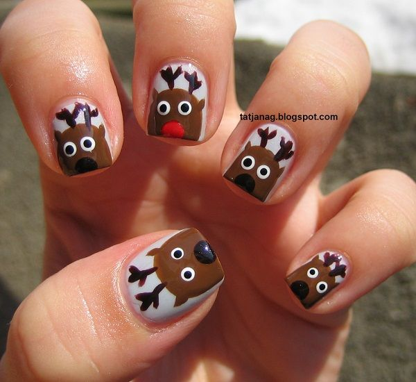 How To Try The Cute Reindeer Inspired Christmas Nail Art Nails