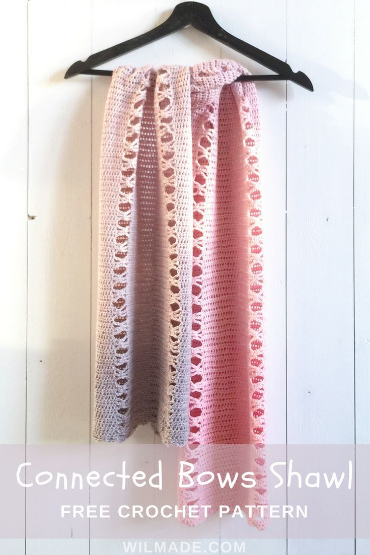 Free #crochet pattern to make this Connected Bows #shawl / #scarf on ...