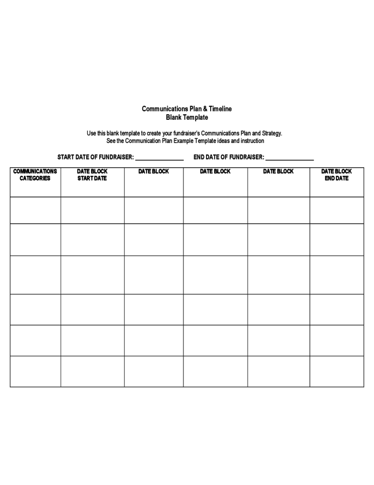 Communications Plan Timeline Blank Template Forms Temples - Fundraising timeline template