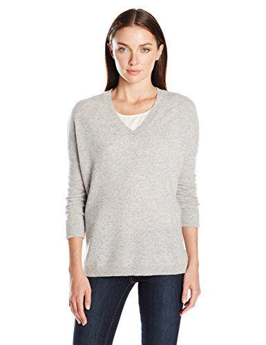 Qearl Women's 100 Cashmere Slouchy V-Neck Sweater | Fashion ...