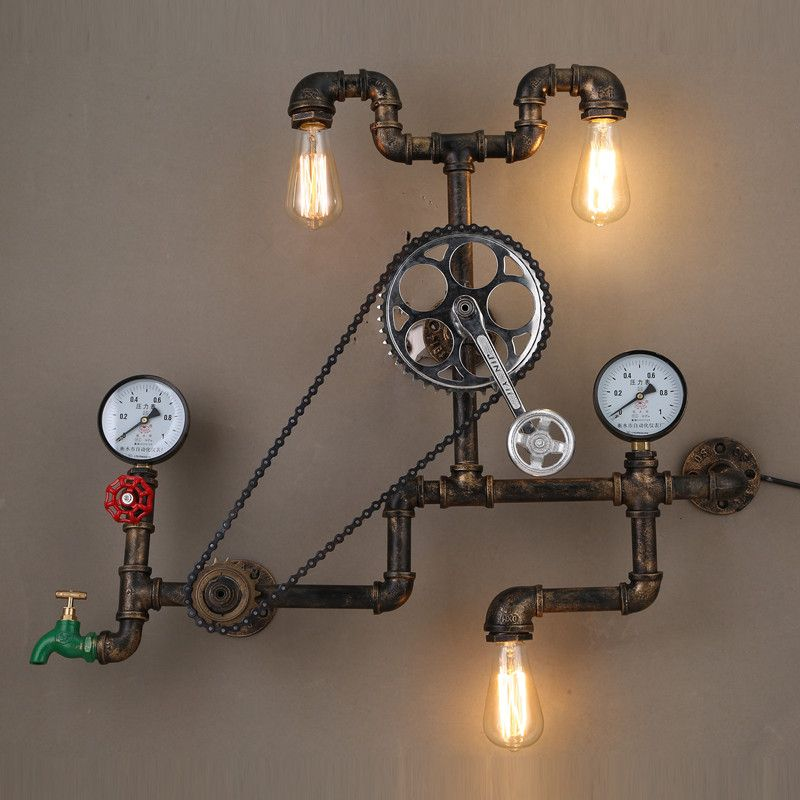 Find more wall lamps information about vintage loft wall lamp wheel find more wall lamps information about vintage loft wall lamp wheel gear chain lamp shade industrial mozeypictures Gallery