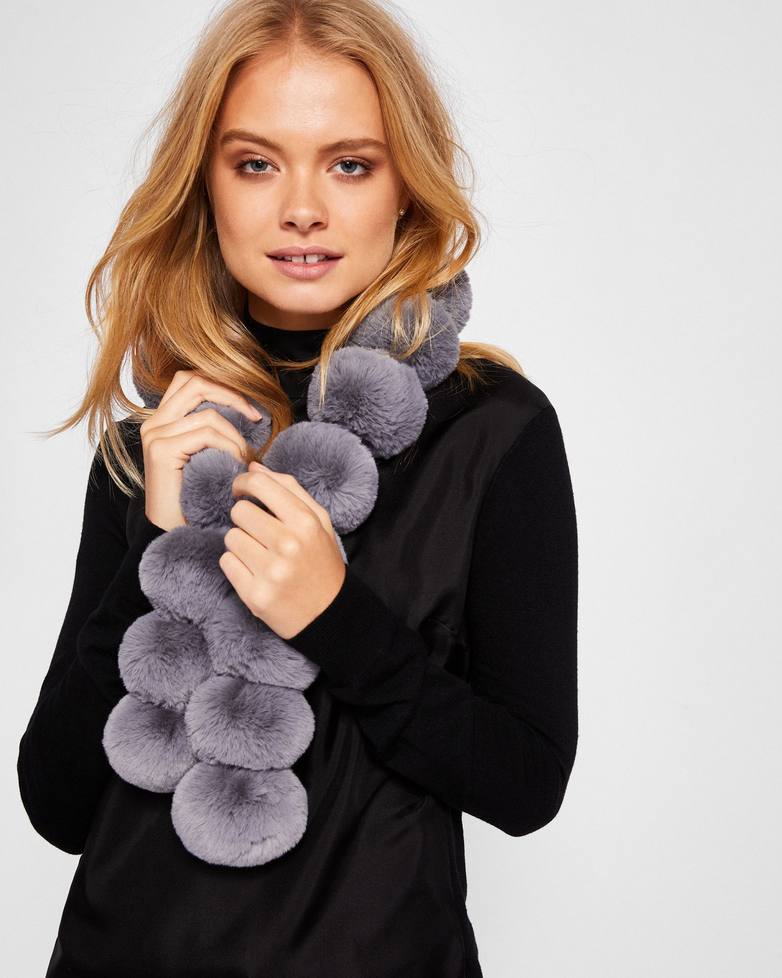 f1aeb54e6 Ted Baker Faux fur pom-pom scarf | Products in 2019 | Pompom scarf ...
