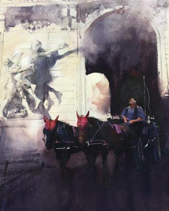 paseo_caballo Álvaro Castagnet  #alvarocastagnet #acuarela #watercolor #galeriadeartetrinotortosa #ventadearte