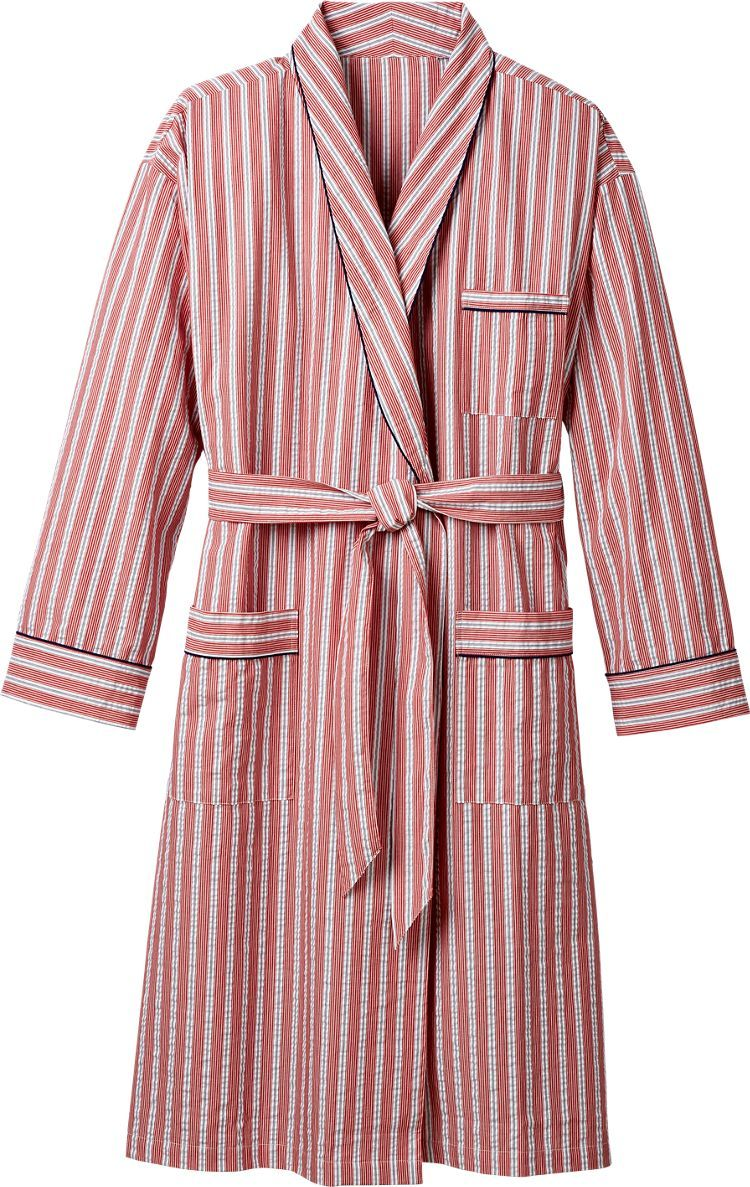 Men s Seersucker Bathrobe  This all-season robe is offered in three  handsome stripes—brick red with blue and white stripes 1ed633c89