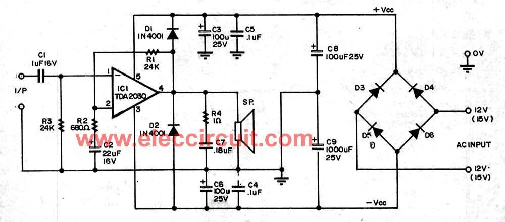 14 watt stereo amplifier ocl by tda2030