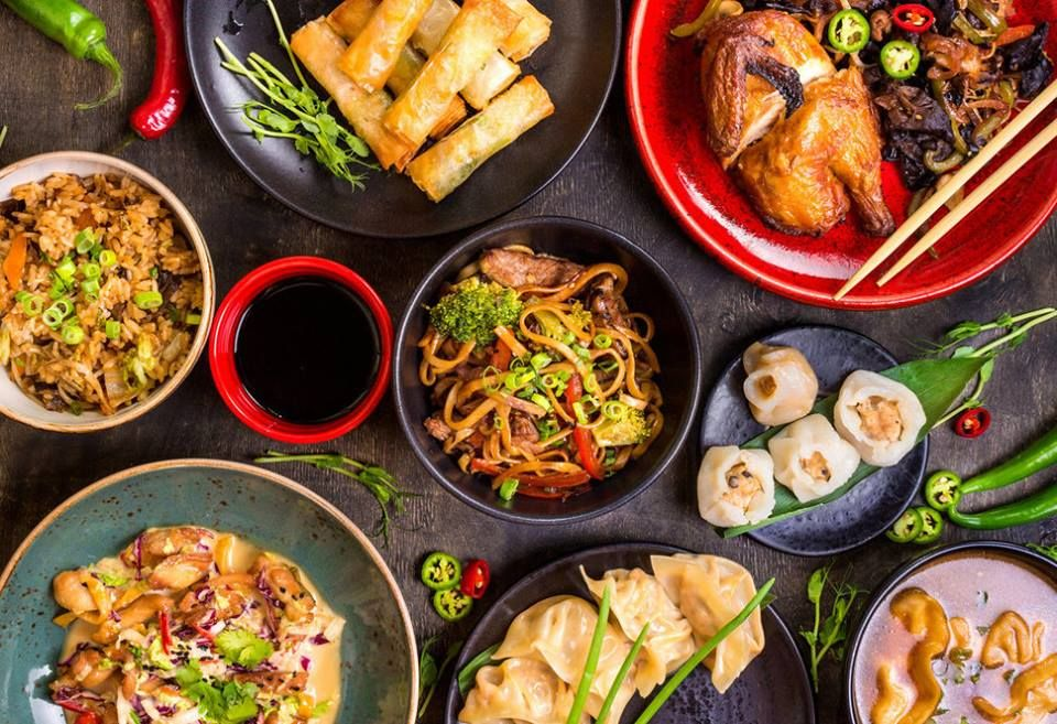 Orted Chinese Food Set Noodles Fried Rice Dumplings Peking Duck Dim Sum Spring Rolls Famous Cuisine Dishes On Table Top View