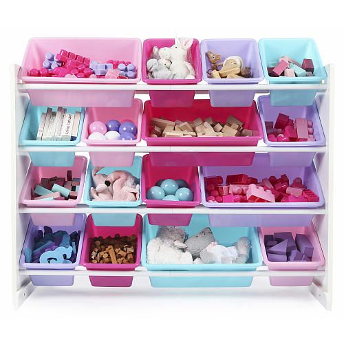 Tot Tutors Forever Super Sized Toy Storage Organizer With 16 Plastic Pastel Colored  Bins
