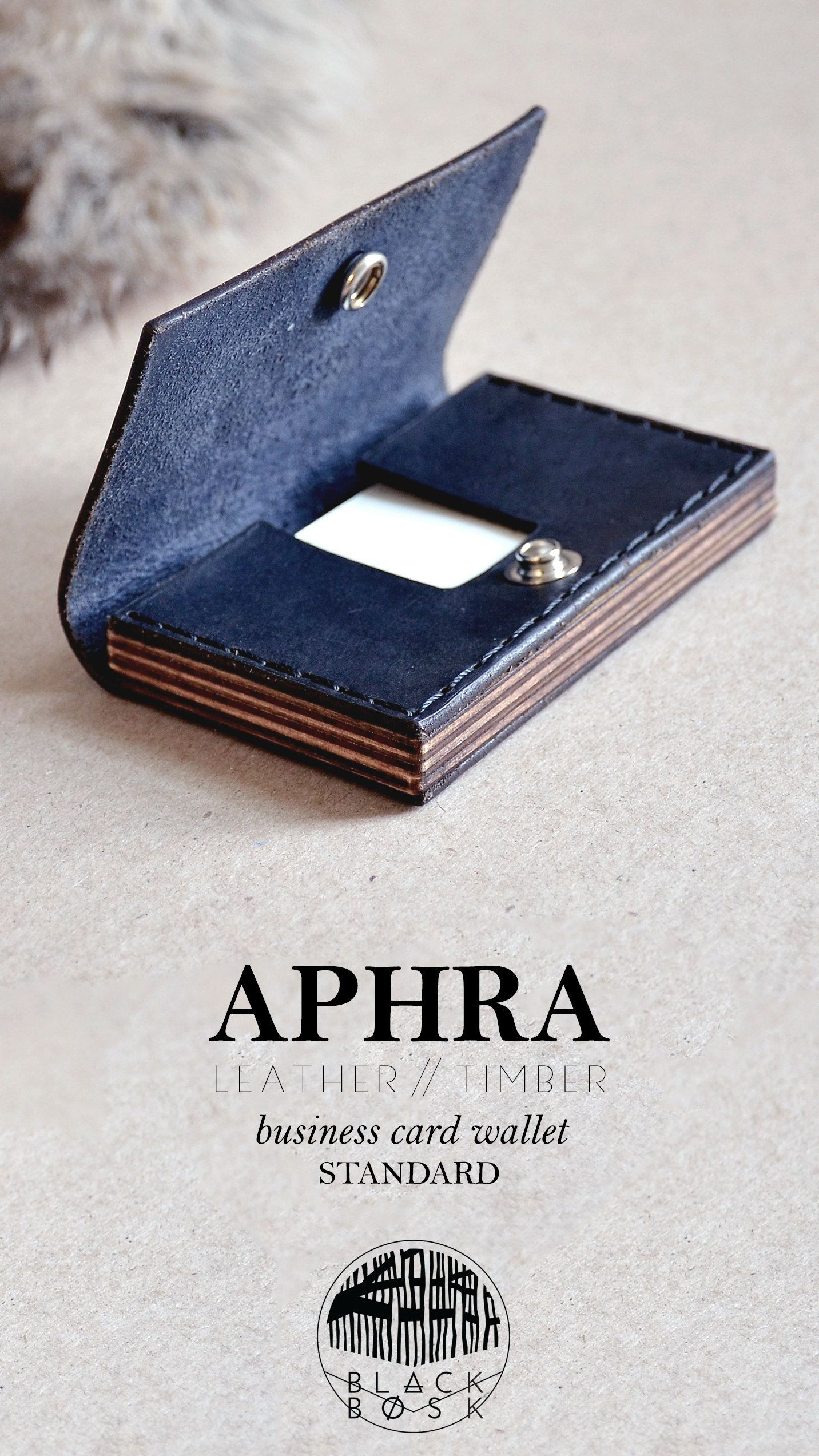 Business card caseleather wood business card wallet