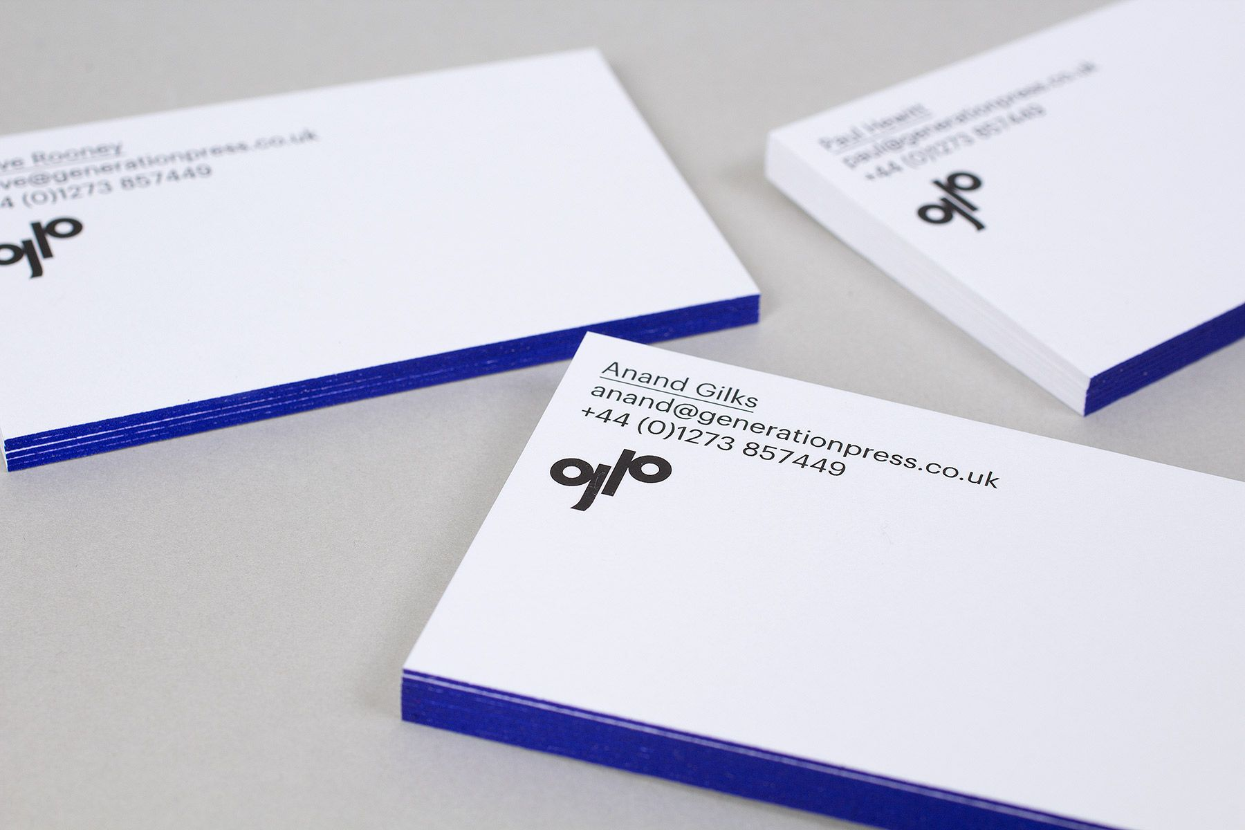 Generation press brand refresh 2014 build branding pinterest business card design with blue edge painted detail for printer generation press by build colourmoves