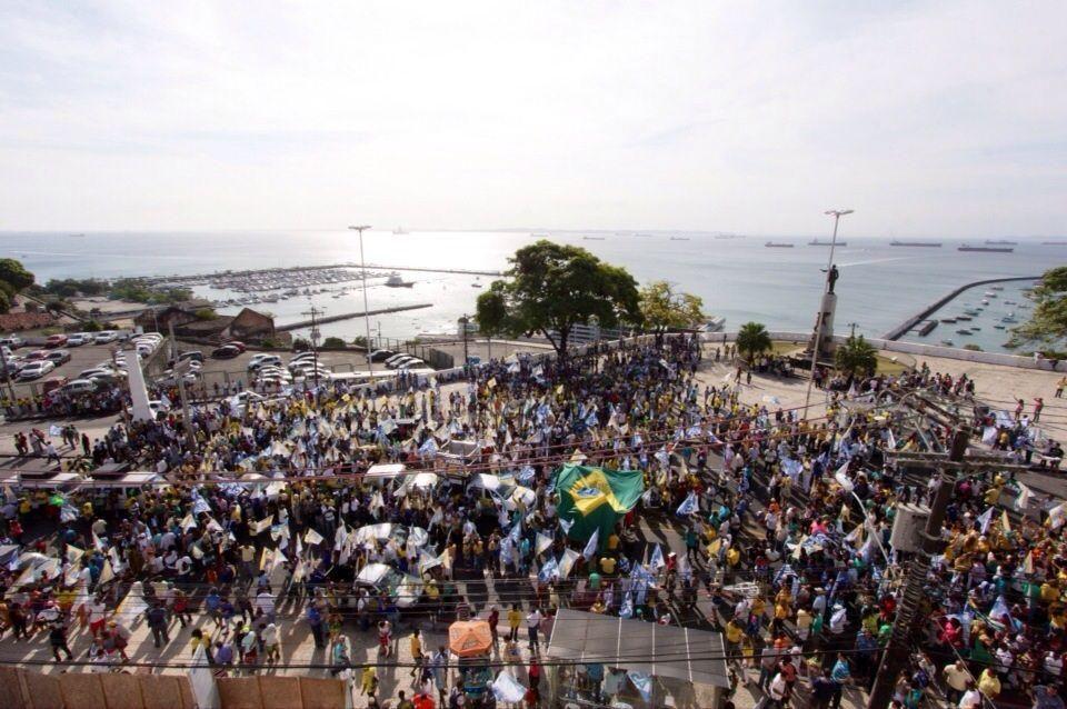 Concentração na Praça Castro Alves. #BahiacomAécio #Aecio45 #Salvador