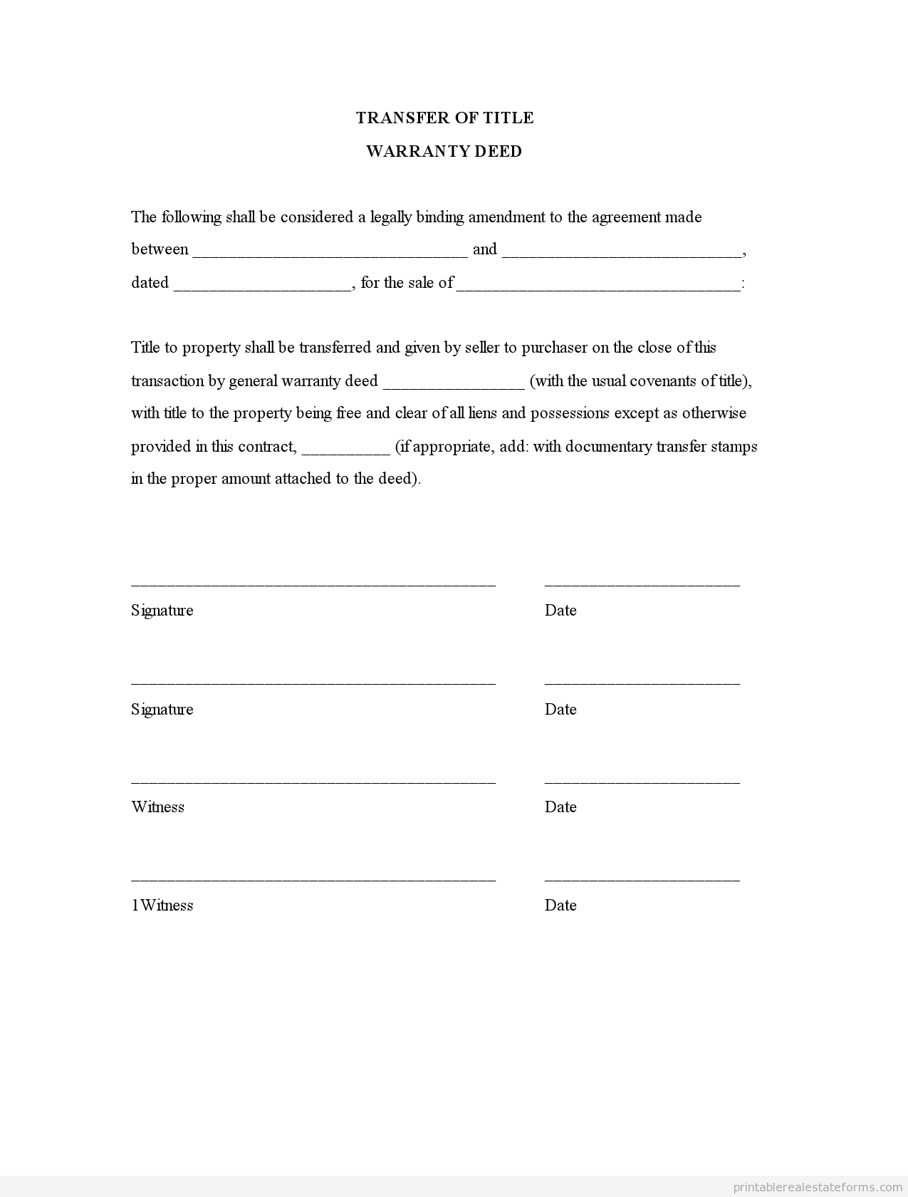 Printable Transfer Of Title Warranty Deed Template   Sample