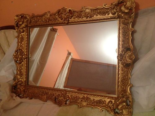 Large Victorian Style Gold Gilt Wall Mirror From The