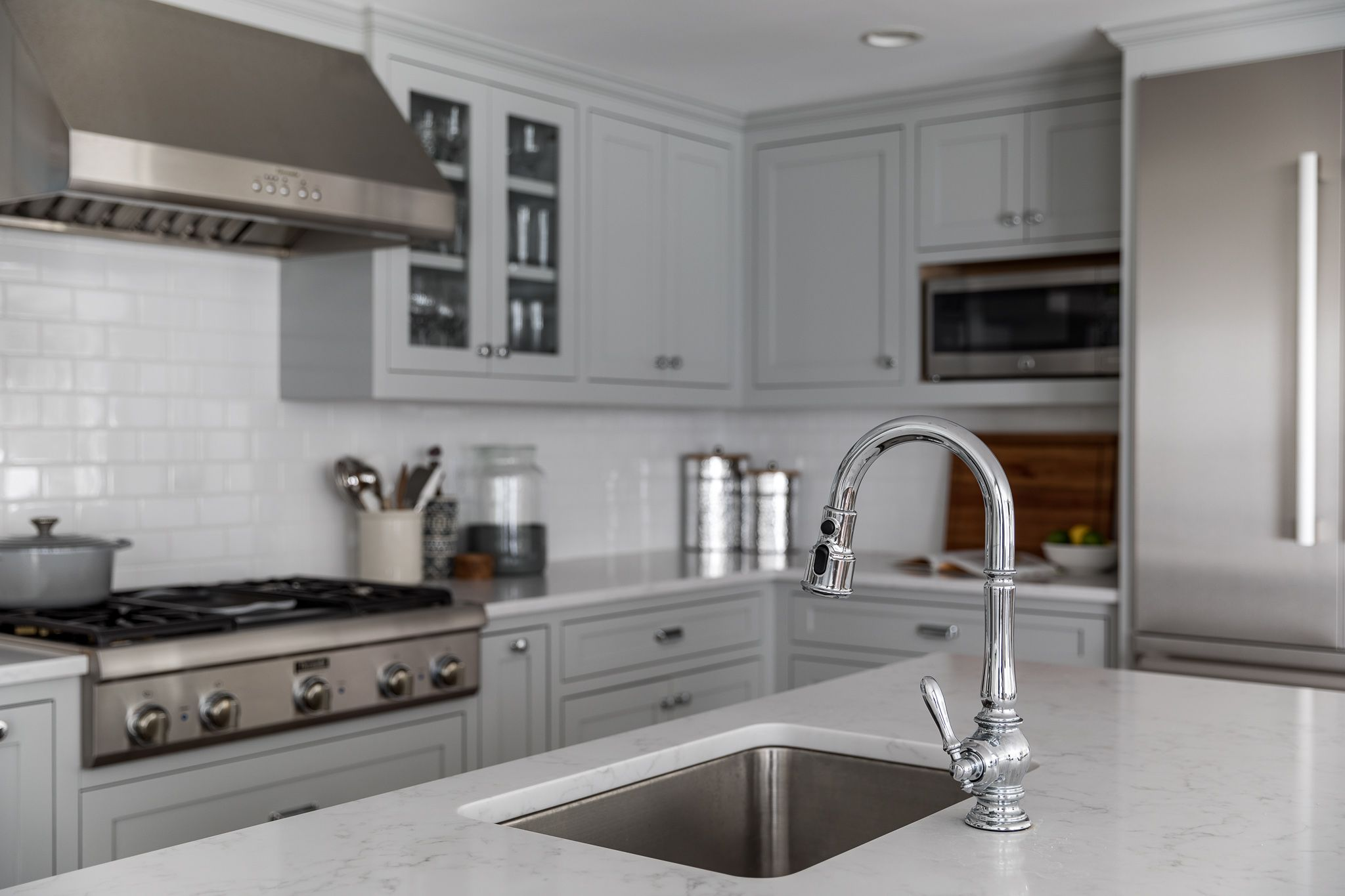 Metropolitan Benjamin Moore Woods End Project Kitchen Remodel Quartz Counters Gray Kitchen