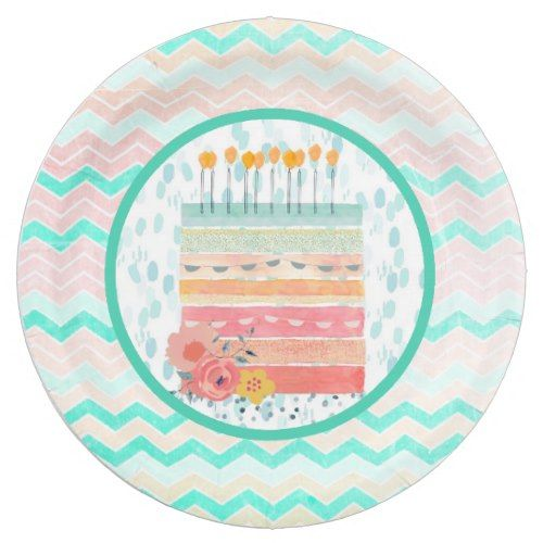 Teal u0026 Coral Birthday Cake Party Paper Plates  sc 1 st  Pinterest & Teal u0026 Coral Birthday Cake Party Paper Plates | Teal coral Cake ...