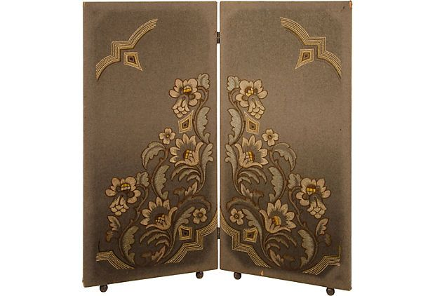 As described by Grace Home Furnishings  Beautiful late-19th-century folding screen with hand-embroidered floral design.