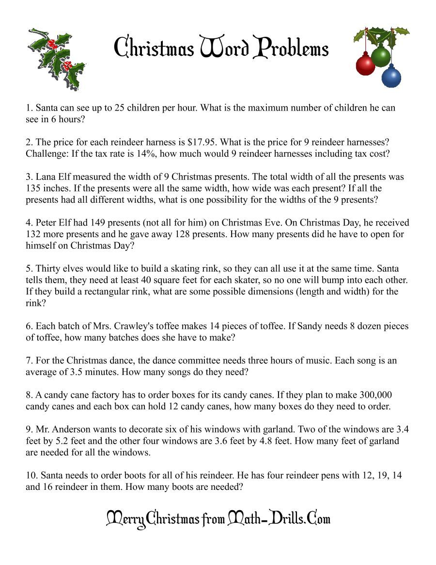 The Word Problems Math Worksheet From The Christmas Math Worksheets Page At Math Drills Com Word Problems Math Word Problems Christmas Math