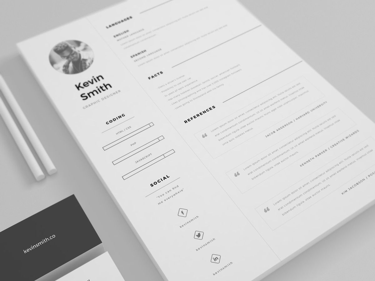 Free Clean And Minimal Resume Template  Paper    Template