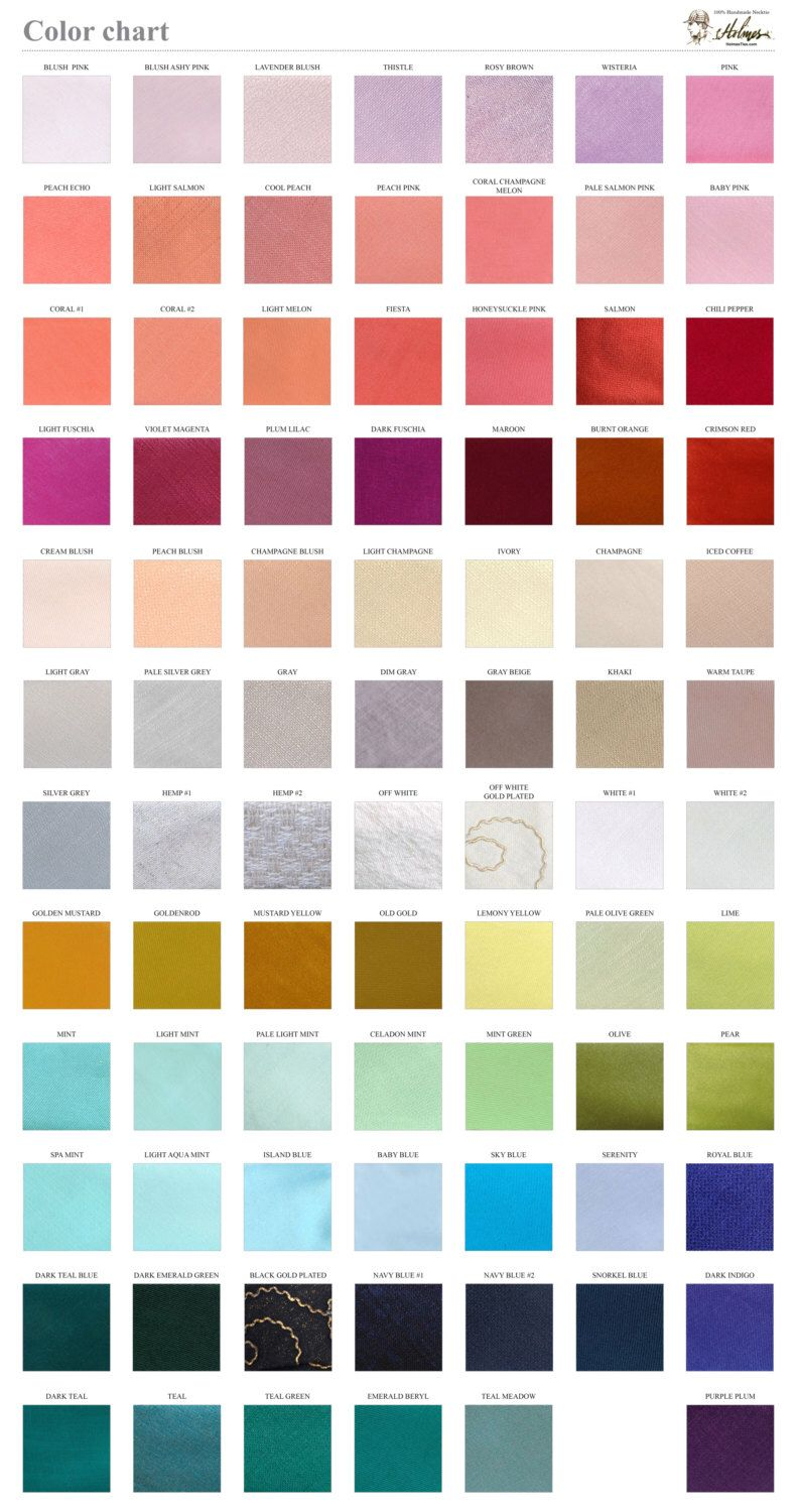 Solid Color Chart  Fabric Sample  Wedding Ties By Holmesties On