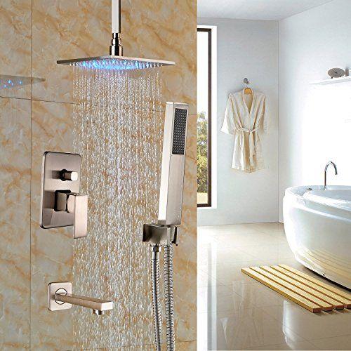 Bathroom Matt Black Shower Head Faucets Hand Spray Mixer Taps Ceiling Mounted