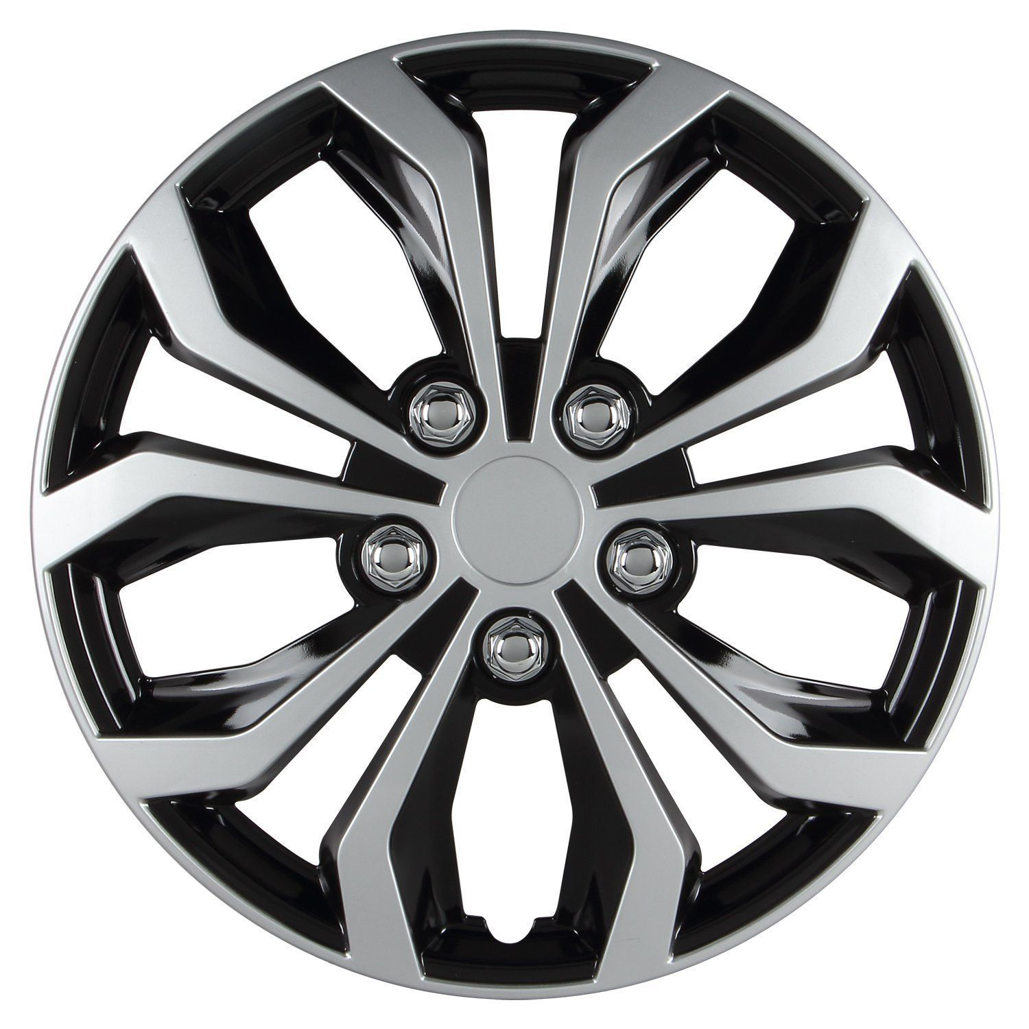 Hubcap, Black And Silver Finish Universal Spyder Performance 14 Inch Hubcaps Set