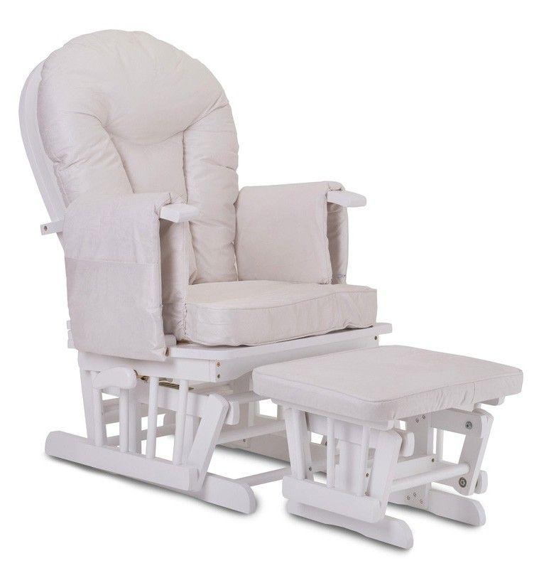 White Wood   Supremo Bambino Nursing Glider Chair (Cream Cushions)