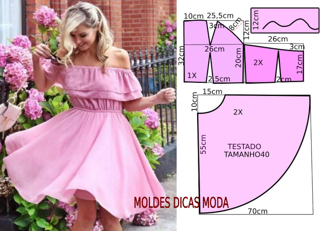 VESTIDO ROSA GODE - Moldes Moda por Medida | patrons utiles ...