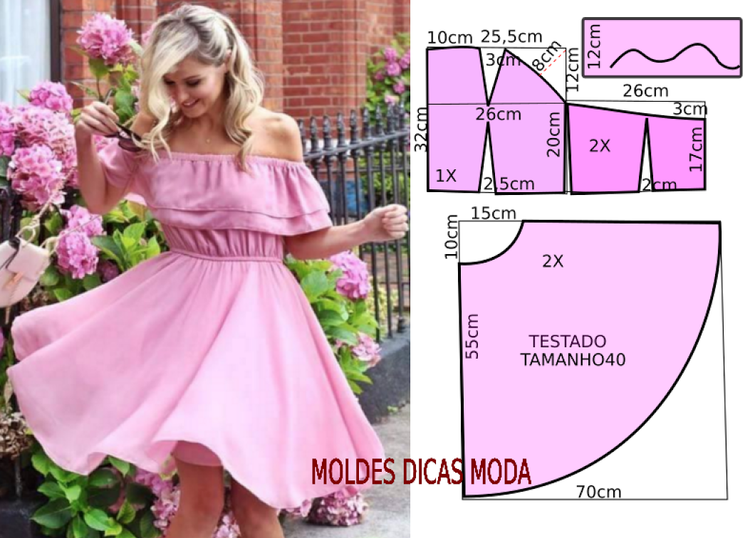 VESTIDO ROSA GODE - Moldes Moda por Medida | Vestidos | Pinterest ...