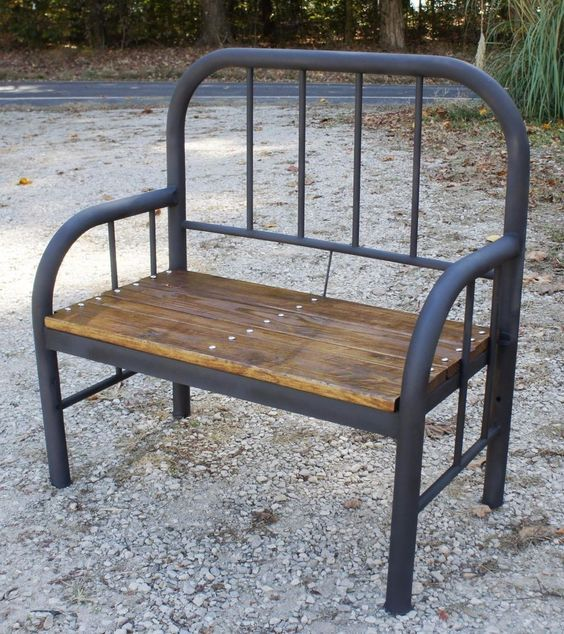 Rustic Bench Made From Old Antique Iron Bed Antique