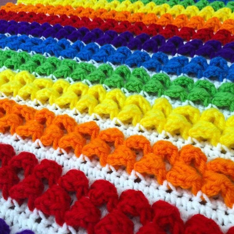 Rainbow Baby Blanket (crochet) | Craftsy | crocheting | Pinterest