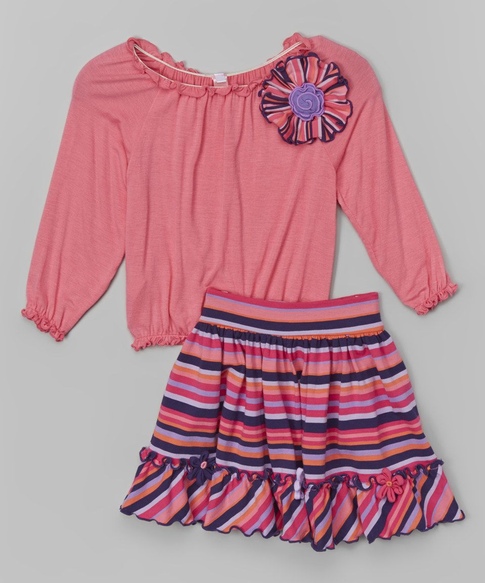Another great find on #zulily! Rose Peasant Flower Top & Striped Skirt - Toddler & Girls by Mulberribush #zulilyfinds
