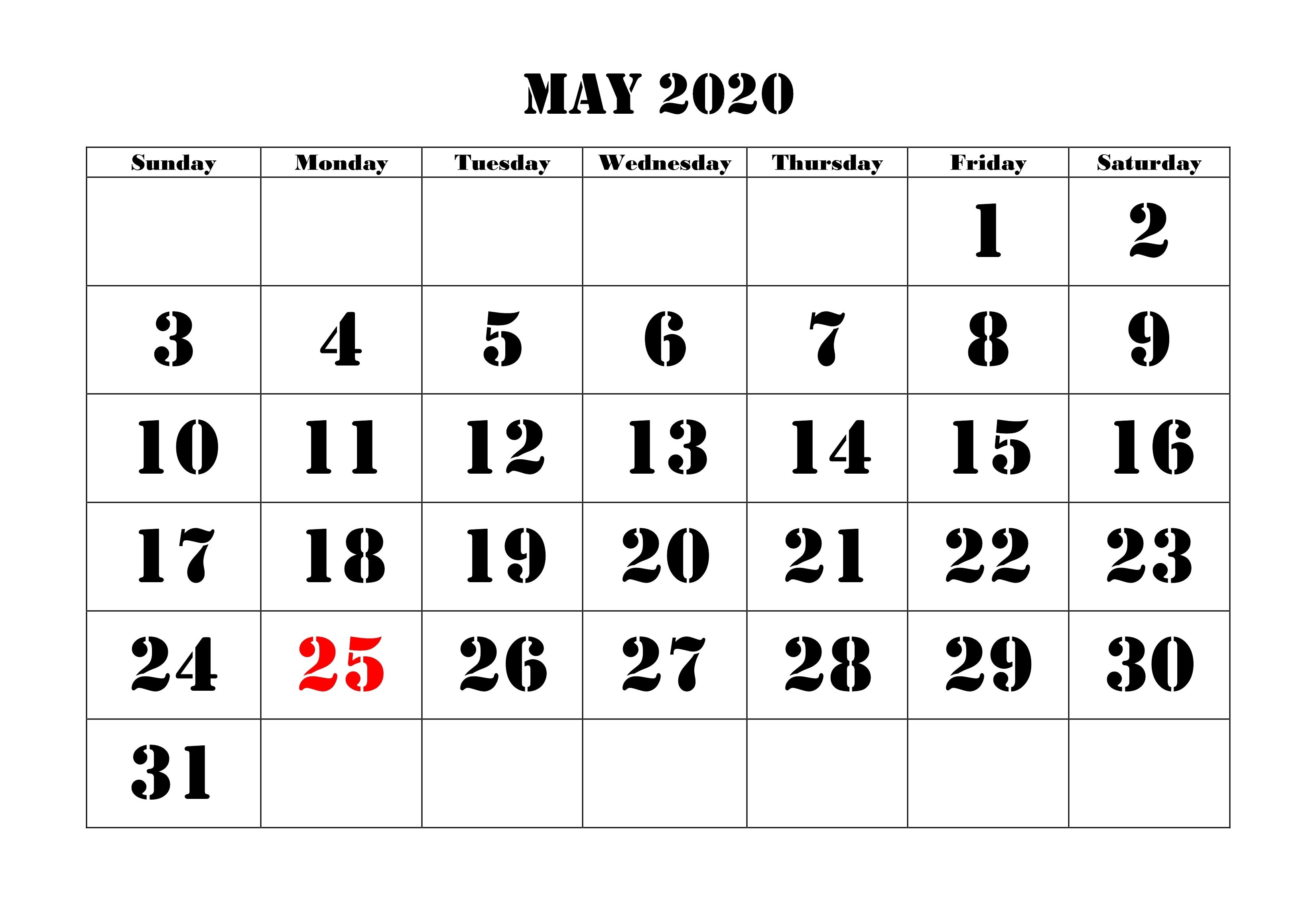 Free May 2020 Calendar Blank Printable Template With Images