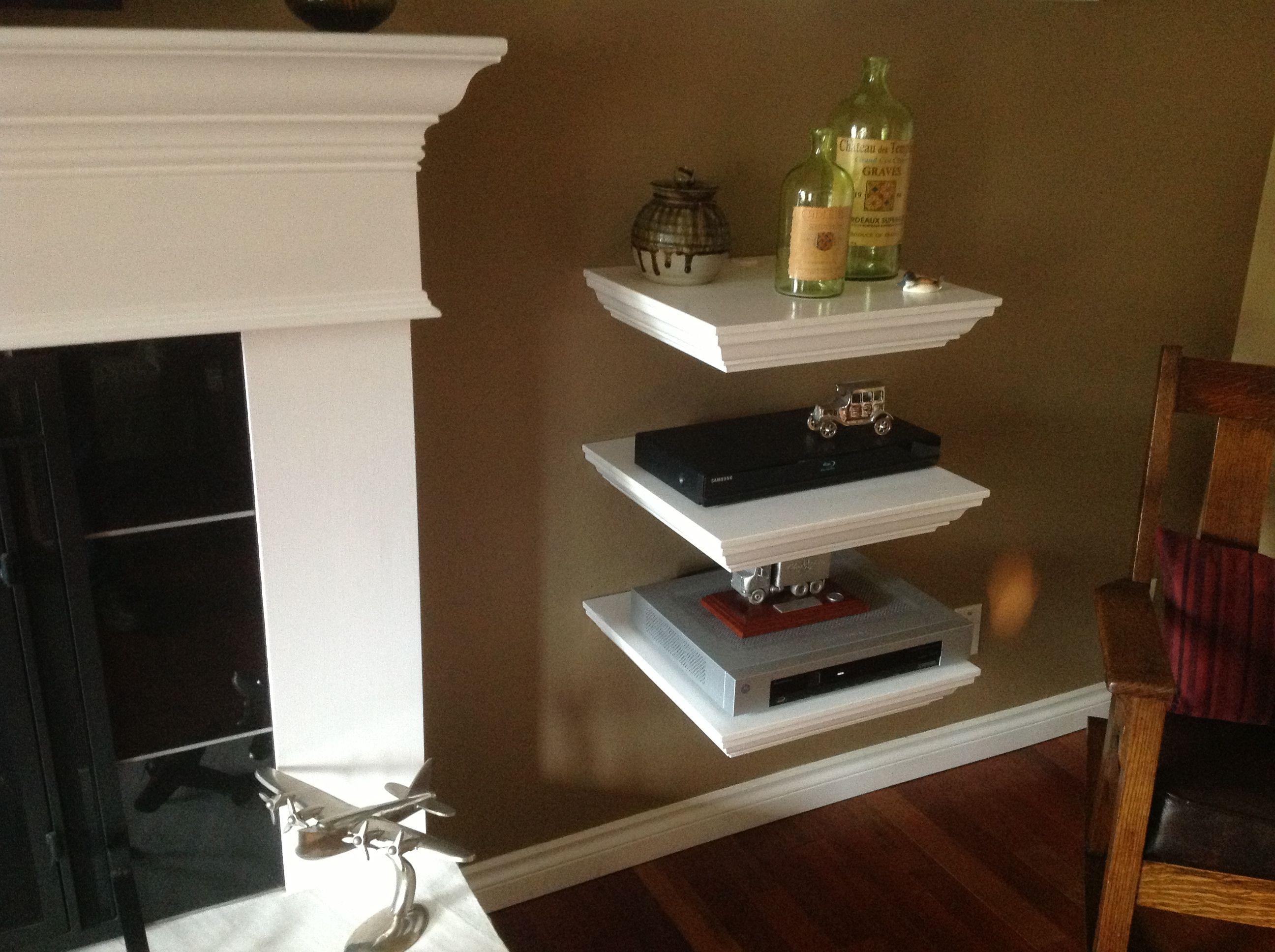 Home Entertainment Shelf System I Built All Cables Go Down Into The Hollow Shelf Out The Back Into Tv Above Fireplace Entertainment Shelves Fireplace Shelves