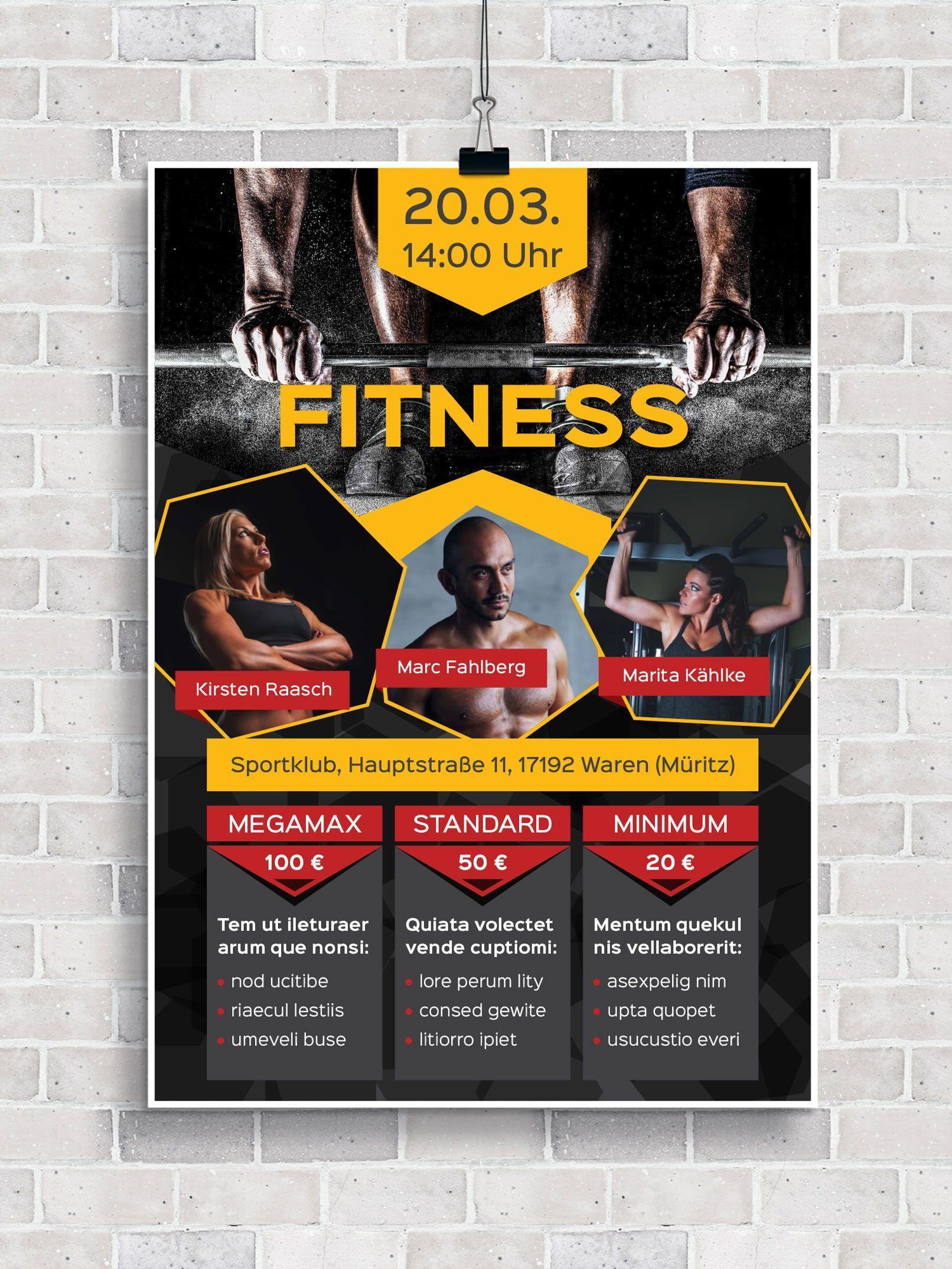 #fitness #Fitnessstudios #FlyerVorlagen #für #probetraining fitnessstudio #Sport #und Flyer-Vorlagen...