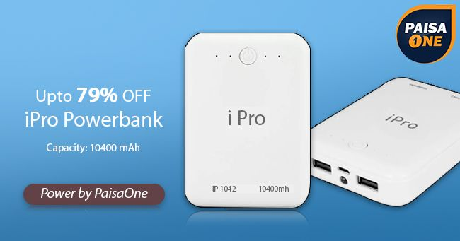 iPro Powerbank 10400 mAh Power Bank on March 23 2017. Check details and Buy Online, through PaisaOne.