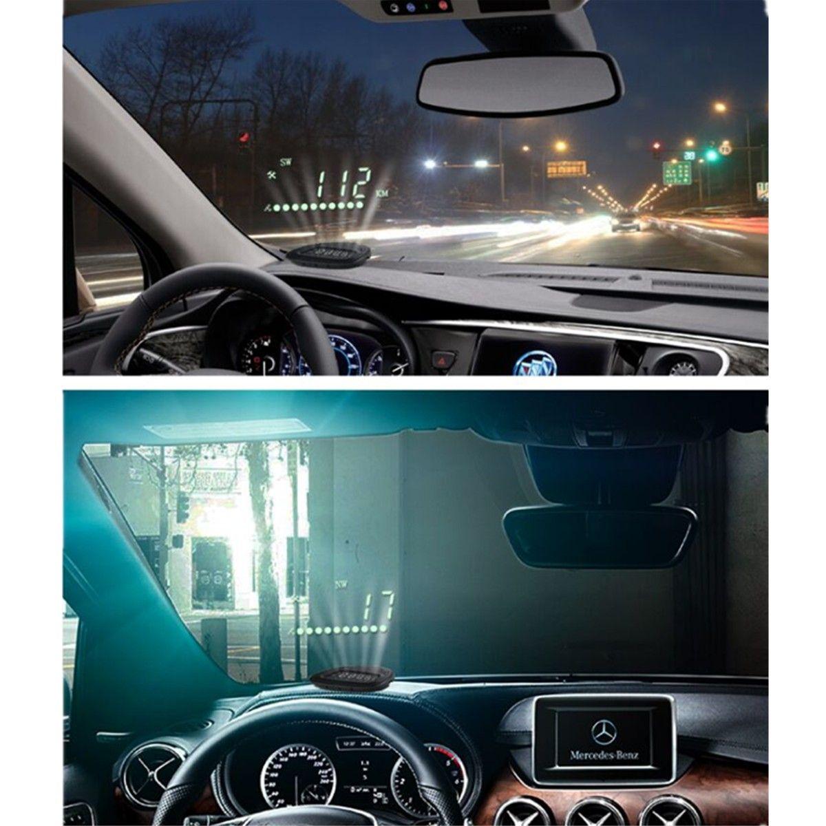 Worldwide universal hud 2 0 inch a1 gps car head up display speedometers dashboard driving time kilometers