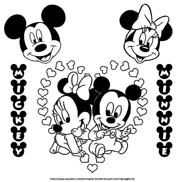 baby mickey and minnie mouse coloring page