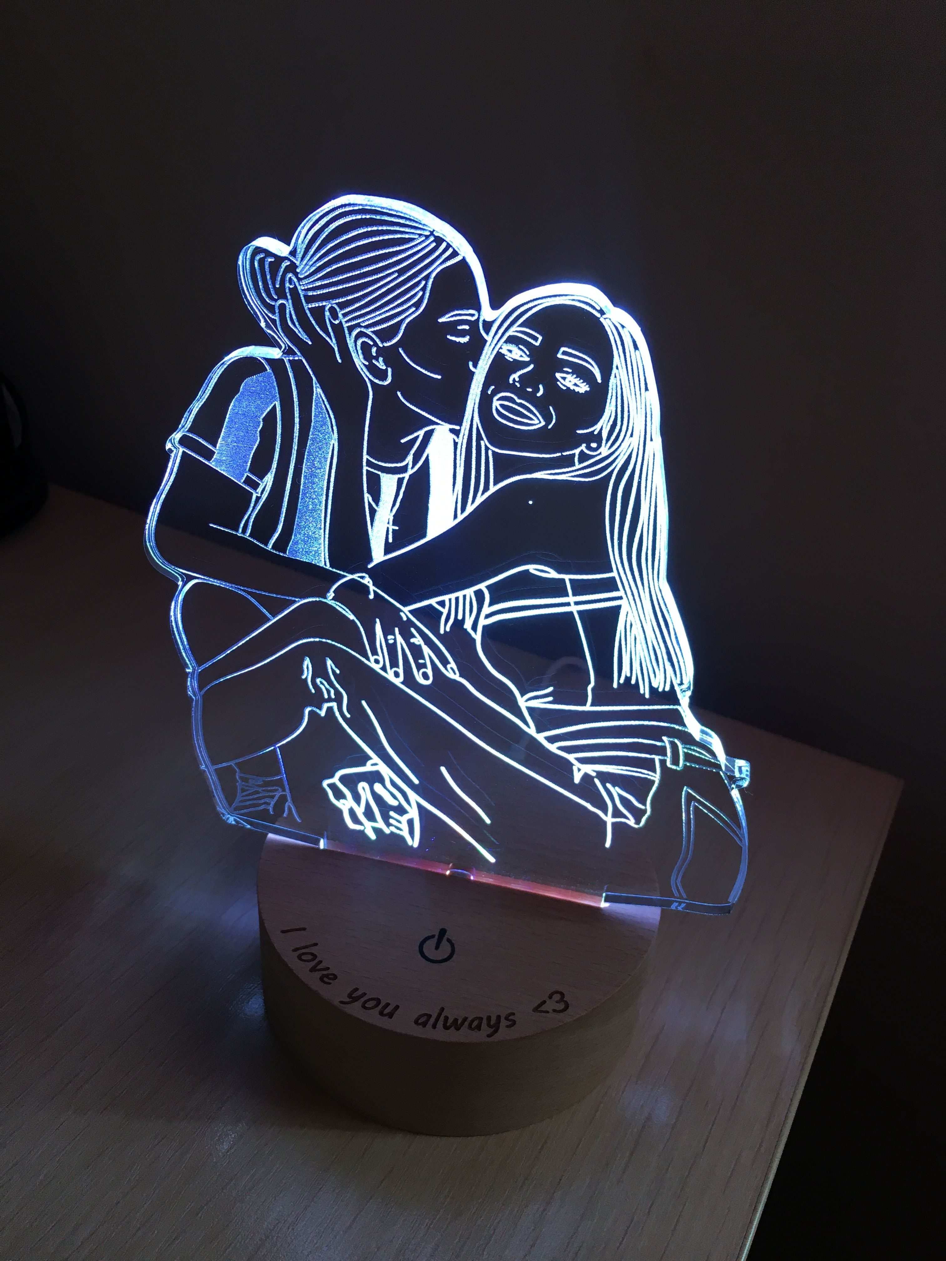 Custom Led Lamp Drawing From Photo Couple Light Nightlight Etsy In 2020 Personalized Photo Gifts Custom Photo Photo Lamp